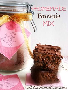 """""""Best Homemade Brownie Mix"""" ~ With free printable labels."""