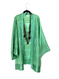 Silk Kimono jacket oversized style, in light green with an indian satin paisley print border in pure silk.