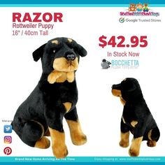 """Rottweiler fans are going to love the new addition to our plush kennel. Razor is a 16""""/40cm sitting plush puppy from Bochetta Plush Toys. He is here first and is shipping right now. #onlinetoys #toys #toystore #plushtoys #plushtoy #stuffedanimal #stuffedanimals #toyshop #Plushies #rottweiler #rottweilerpuppy #rottweilersofinstagram #rottweilers"""