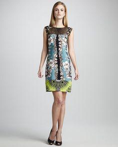 LOVE this dress!   Ginny Printed Silk Dress by Elie Tahari at Neiman Marcus.