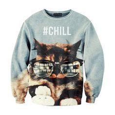 Chill cat sweatshirt awesome  elfsacks