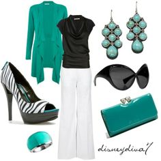 Windsmoor Dipped Hem Long Cardigan, Jade/white slacks/black top/zebra and jade pumps/jade access.