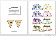 Ice Cream Interval game - Color In My Piano Piano Lessons, Music Lessons, Piano Games, Music Games, Reading Music, The End Game, Piano Teaching, Easy Piano, Program Template