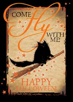 Gorgeous halloween card, hand finished with orange glitter, blank inside, printed on GF Smith UK card. Perfect for Halloween or for any witches or cat lovers you know! Boo Halloween, Retro Halloween, Halloween Chat Noir, Halloween Imagem, Samhain Halloween, Halloween Quotes, Halloween Signs, Halloween Outfits, Holidays Halloween
