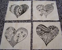 Images of Zentangle | heart zentangle quilt squares by KenyaMarieDesigns on Etsy