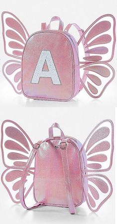 31368952fd98 Backpacks 57917  Nwt Justice Butterfly Wing Initial Mini Backpack! You  Choose The Letter!
