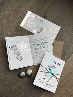 Crisp, clean, and modern Passport wedding invitation and Boarding Pass RSVP post card. As a former destination wedding bride, I searched the internet for an upscale stylish and travel-themed wedding invitation. With this in mind, I developed these truly unique take on a Passport wedding invitation set. What makes this design special and truly original? I create a custom stamp for the couple with their name and destination. This stamp can be used on other pieces throughout the wedding such…