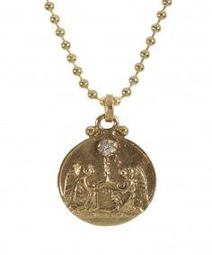 Anthony Medal Pendant Mia Diamonds 14k White Gold Polished and Satin St