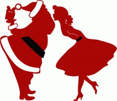 Silhouette Online Store: mommy kissing santa claus silhouette