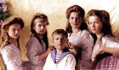 OTMAA - Grand Duchesses Tatiana, Anastasia, Maria and Olga with Tsarevich Alexei; 1909.