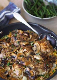 Luksus kyllingpanne med champignon - med eller uten fløte - Sukkerfri Hverdag