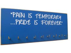 Medals display rack - Display rack for medals, pain is temporary pride is forever. Running Medals, Running Gifts, Gymnastics Medal Holder, Gifts For Marathon Runners, Ribbon Display, Award Display, Medal Holders, Running Inspiration, Fit Motivation