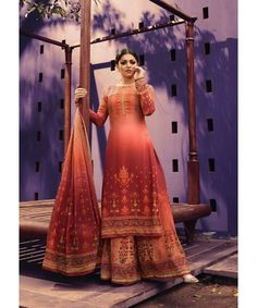 This suit is beautified with digital print all over. It comes with a matching digital printed sharara and chiffon digital printed dupatta. Ethnic Gown, Indian Ethnic Wear, Indian Clothes Online, Online Clothing Stores, Festival Wear, Festival Fashion, Indian Dresses, Indian Outfits, Palazzo Suit