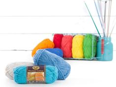 Create a functional piece of art with the Kitchen Cotton Collection from Lion Brand. Made of durable 100% cotton, this fun, fabulous yarn is machine washable and available in 12 beautiful bright hues, all in a convenient worsted weight. Perfect for working up custom-made kitchen creations such as the brightly colored dishcloths, washcloths, or even and adorable apron!