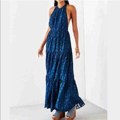 """UO Racerback Maxi Dress Back in stock!! Fall in love with this flowing jacquard gauze maxi dress from romantically femme UO. So got and dreamy. A breeze to wear. Loose + relaxed fit with crew neck and empire waist complete with a stunning buttoned back. - Chest: 28.5"""" - Length: 60"""" Urban Outfitters Dresses Maxi"""