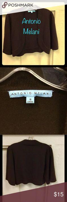 Selling this Antonio Melani SZ Small Brown Shrug on Poshmark! My username is: just_kota. #shopmycloset #poshmark #fashion #shopping #style #forsale #ANTONIO MELANI #Sweaters