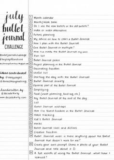 July Bullet Journal Challenge by Tiny Ray of Sunshine