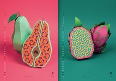 English designers collective working at Nearly Normal Craft has made a colorful calendar for the new year. Each month is represented by a fruit with the number of the ongoing month made of paper and collage.