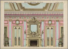Background for toy theater - Salon Room c 1889 by Epinal