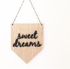 Tasmanian Oak & Perspex Sweet Dreams Wall Hanging,Kids Room,Banner,Laser cut, Kids decor,Nursery