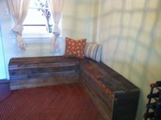 Custom made pallet furniture. Wonder if I could make my own hope chest with some of these techniques?
