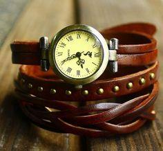Women Leather Watch - Genuine Leather Wrap Bracelet Watch - Retro Style with Rivet Women Wrist Watch