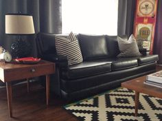 Vintage Midcentury Mad Men style cool sleek black couch $975 Retro Couch Black.