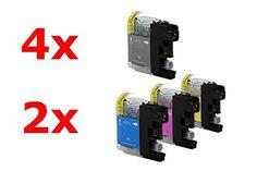 Compatible pour Brother MFC-J 4610 DW Cartouche d encre Promo Pack Cyan/Magenta/Jaune/Noir LC-127XL & LC-125 XXL 4 x 30 & 6 x 15 ml