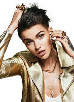 Rebel Rose: Ruby Rose on her role in Pitch Perfect 3 'Angelina Jolie was the only person I related t Black Ruby, Orange Is The New Black, Black Gold, Black Leather, Angelina Jolie, Model Tattoos, Rubin Rose, Pitch Perfect, Rose Hair