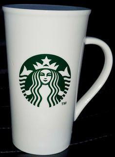 Starbucks Coffee Mug Cup 2013 White Tall Green Logo Black Text