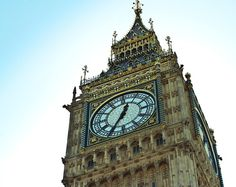 This Big Ben Clock Print is a detailed and colorful image of the worlds favorite clock tower in downtown London - Photo by Lost Kat Photo lostkat.com