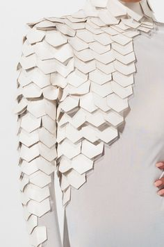 Vogue AKIRA Label Mesh Long Sleeve Scale Detail Bodysuit in White Red Blush origami AKIRA Blush Bodysuit Detail Label Long Mesh origami fashion Red Scale Sleeve Vogue White Arte Fashion, Paper Fashion, Origami Fashion, 3d Fashion, Fashion Details, Fashion Design, Fashion Fabric, Fashion Fashion, Moda Origami