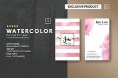 Personal Watercolor Business Card by John Wayk Co. on @creativemarket