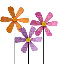 Decorative Wooden Cosmos Flower Spinwheels, set of 3 in Summer 2013 from HearthSong on shop.CatalogSpree.com, my personal digital mall.