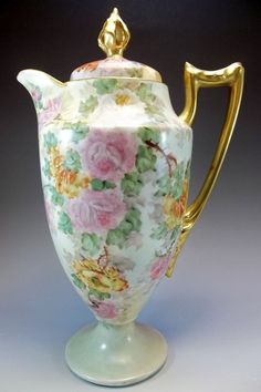 CMC Limoges Chocolate Pot Hand Painted Pink Yellow Roses Gold Signed Porcelain