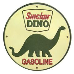 "This Sinclair Dino Gasoline Tin Sign is the perfect way to enhance the décor of any home, office or man cave. The tin sign features one sawtooth hanger attached to the back for ease of hanging. Size: 12"" in diameter"
