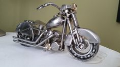 Custom made scrap metal art 1940's harley by TiDYEcreations
