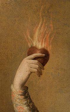 Flaming Heart Art Print by Wanker & Wanker - X-Small Renaissance Kunst, Renaissance Paintings, Art And Illustration, Power Trip, Classical Art, Aesthetic Art, Aesthetic Wallpapers, Art Inspo, Art History