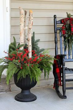 How To Make Outdoor Christmas Planters : DIY outdoor Christmas planters for your holiday porch Learn how to make these beautiful outdoor Christmas planters made with Birch branches and Winterberry. A quick and easy accent for your holiday porch decor. Outdoor Christmas Planters, Outdoor Planters, Front Porch Ideas For Christmas, Planters For Front Porch, Indoor Outdoor, Porch Planter, Christmas Front Doors, Outdoor Fire, Garden Planters