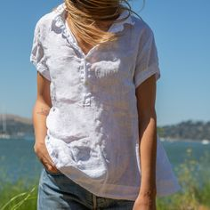 Pro-Peek-3-03_1 Natural Fiber Clothing, The White Album, Chambray, Cap Sleeves, V Neck, Pullover, T Shirts For Women, Color, Tops
