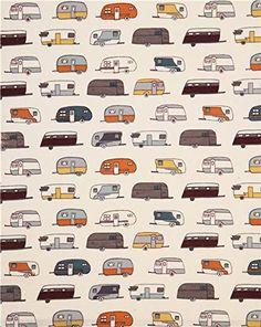AmazonSmile: beige Camper Rally birch organic flannel fabric camping caravan trailer (per 0.5 yard multiples)