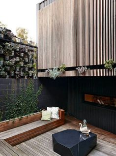 timber cladding and planting