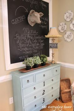 "How fun is this!?   A Southern Home Tour at The Everyday Home: Chalkboard Wall with Farmhouse Pig. ""Cleetus"" available at Farmhouse Decor Shop. www.farmhousedecorshop.com"