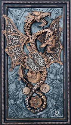 Steampunk Tendencies | Two-headed dragon time keeper - Vintedge artworks - Lance Oscarson #Cardboard #Sculpture #Dragon #Steampunk