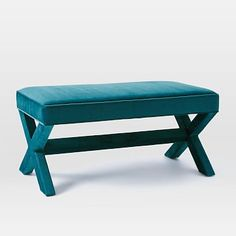 """**** $349 Cross Base Upholstered Bench #westelm. 20.5""""w x 41""""d x 18.5""""h. Next to Lou's side of bed, so you see it as you walk in, with silver chest of drawers to right."""