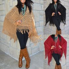 Ladies BOHO 70's Fringe Trim Crochet Poncho Sweater Camel Black Wine O/S S-3X…
