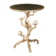 Erika Brunson, Twig Side Table With Rock Crystal Sphere and Antique Mirror Top, Hand crafted twig base, rock crystal balls, with walnut top and inset antique mirror, inspired by the design of Serge Roche, 22″ D x 28″ H, Finish #20 Antique White Gold, John Rosselli, NYC