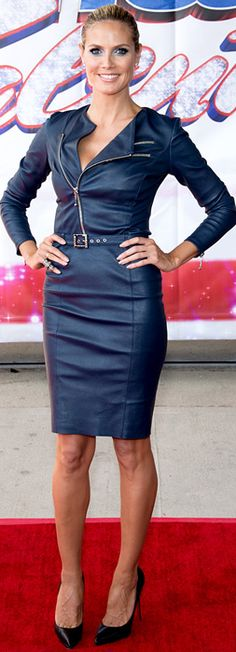 Who made  Heidi Klums black pumps, blue leather skirt, and zipper jacket?