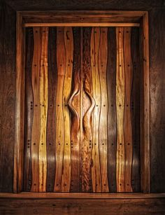 """double doors with integrated handles. All woods used are reclaimed from old houses. """"Open Sesame"""" kolektor series 2012, Benji Reyes."""