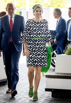 Queen Maxima of The Netherlands donned bizarre neon accessories as she arrived at a neurology congress in Amsterdam on June 27, 2017